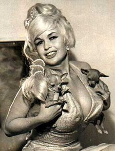 "Jayne Mansfield with her chihuahuas Momsickle and Popsickle. Reportedly, she once said, ""I'd like ten more babies, ten more chihuahuas, and a few Academy Awards."""