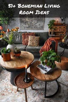 51+ Bohemian Living Room Ideas - boho chic, vintage plant filled living room | 7M Woodworking loves sharing tips for woodworking projects DIY & rustic interior design alongside unique handmade wooden tables, reclaimed barn beam lightning, and other woodworking projects. Check out www.7mwoodworking.com (312) 545-0331