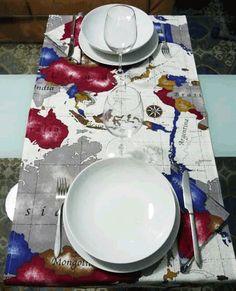 Runner - Kit da cucina - Fantasia Mappamondo. - un prodotto unico di kdproduction su DaWanda