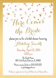 Here Comes The Bride Shower Invitation and personalized sign, Coral & Gold Foil, Confetti