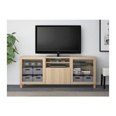 BESTÅ Tv-bänk med lådor - Lappviken/Sindvik vitlaserad ekmönstrat klarglas, lådskena, mjukstängande - IKEA