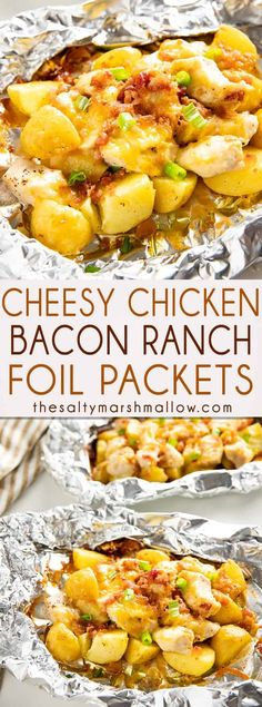 Bacon Ranch Chicken Foil Packets Bacon Ranch Chicken Foil Packets are the perfect easy and flavor packed dinner with potatoes, cheese, and bacon! These chicken foil packets come together in a snap and can be made on the grill or in the oven! Tin Foil Dinners, Foil Packet Dinners, Foil Pack Meals, Dinners On The Grill, Foil Packet Recipes, Camping Foil Dinners, Camping Meals, Camping Cooking, Chicken Foil Recipes