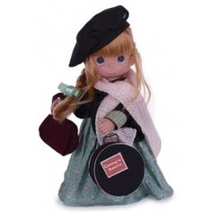 The Precious Moments Coming to America Doll Ireland Doll is dressed in a beautiful ensemble that hold special meaning to the country she represents. Clutching a purse and chic hat box, this oh-so-cute doll has adorable charm. Irish Clothing, Precious Moments Dolls, Red Blonde Hair, Cotton Long Dress, Irish Girls, Vinyl Dolls, Vinyl Fabric, Dolls For Sale, Doll Maker