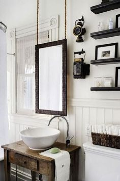 sink/cabinet small bathroom Bathroom Decor Elaborate mirror, wood panelling and stone console wash stand. Bad Inspiration, Bathroom Inspiration, Bathroom Ideas, Design Bathroom, Bathroom Renovations, Budget Bathroom, Mirror Inspiration, Bathroom Updates, Bathroom Layout