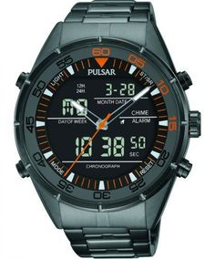 Pulsar PW6015 Digital Mens Watch Chronograph Grey-Ion Finish Stainless Steel With Alarm