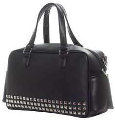Pyramid Studded PVC Diaper Bag by Sourpuss - Black (Misc Bags). Sourpuss saves the day for the coolest parents across the globe once again! Boring, run-of-the-mill diaper bag? We know you're anything but plain! This Studded Diape Fall Handbags, Handbags On Sale, Fashion Handbags, Purses And Handbags, Cheap Purses, Unique Purses, Purses For Sale, Rockabilly Shoes, Coach Purses Outlet