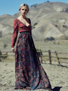 Magenta and dusky blue gypsy inspired maxi dress
