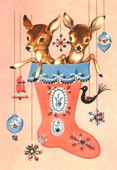 Vintage Christmas card - deer, stocking, and old fashioned indents ornaments