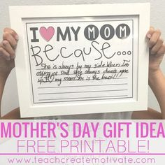 This printable makes a great Mother's Day Gift! Just print, put in a frame, and use a dry erase marker for students to write their message! Aunt and Grandmother version included also! See other Mother's Day activities here! Mother's Day Activities!