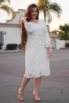 Our Sophia dresses have always been popular, we are so happy to bring it in Ivory this spring. Frock Fashion, Modesty Fashion, Arab Fashion, Fashion Women, Modest Dresses, Modest Outfits, Casual Dresses, Dress Skirt, Lace Dress