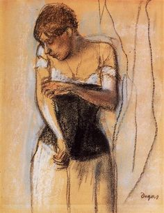Woman Touching Her Arm, 1883 by Edgar Degas. Impressionism. sketch and study. Private Collection