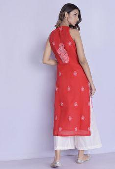 Rangpur Blended Cotton Kurta Palazzo Set in Red Churidar, Anarkali, Salwar Kameez, Indian Attire, Indian Outfits, Indian Wear, Indian Designer Outfits, Designer Dresses, Kurta Palazzo