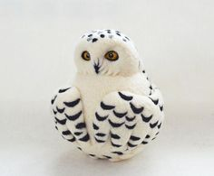 Snowy Owl, needle felted wool soft sculpture / child friendly art toy