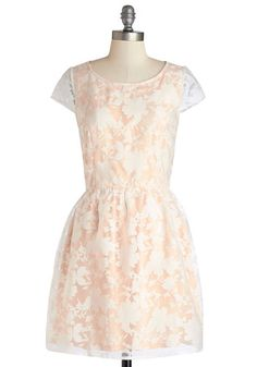 Fairytale Moment Dress - Floral, Wedding, Daytime Party, A-line, Cap Sleeves, Good, Crew, Mid-length, Sheer, Woven, Lace, Pink, White, Bridesmaid