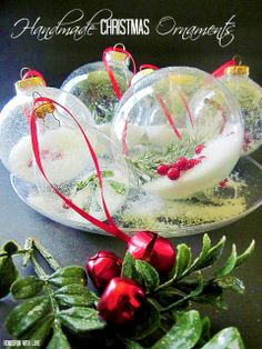 Homespun With Love: Pretty Handmade Christmas Ornaments    An easier way than I did it - will remember this for next time!