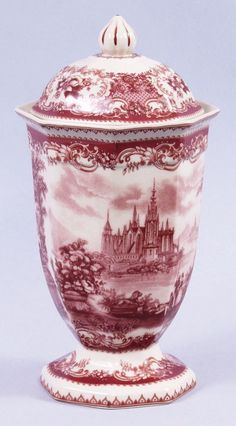 Red Toile Jar Victorian Castle Porcelain Transferware