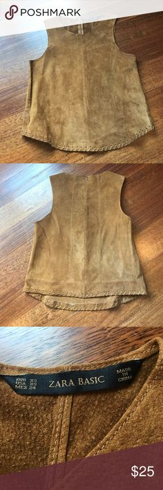 Brown suede Zara top Brown suede top with detailing. Barely worn Zara Tops Blouses