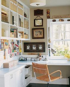Office off the master bedroom: like the cubbies; chair; built-in desk; ceiling fixture;; wall color w/white trim