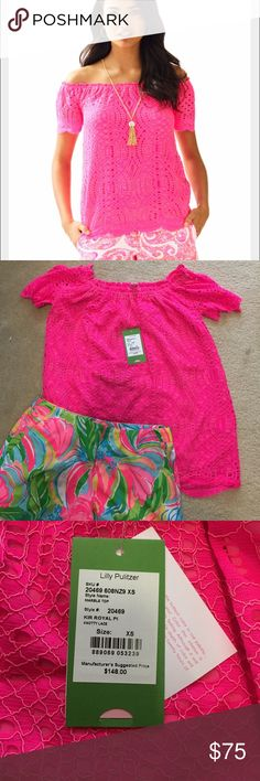 """Lilly Pulitzer Top Xs Lilly pink off the shoulder """"knotty Lace"""" Top Xs. Bright pink. NEW Lilly Pulitzer Tops Blouses"""