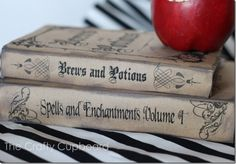 Halloween Home Decor and a bunch of free printable ideas... I particularly liked these spell book covers, however I lack the expertise to print them!  Oh well, have to be a project for next halloween