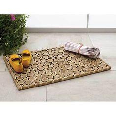 wood slice floor door mat