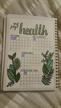 Monitor your health with your bullet journal. Here's an example. Plus 100 more BuJo page ideas in this post! Monitor your health with your bullet journal. Here's an example. Plus 100 more BuJo page ideas in this post! Bullet Journal Inspo, Bullet Journal Mise En Page, List Of Bullet Journal Pages, Bullet Journal Tracker, Bullet Journal Aesthetic, Bullet Journal Writing, Bullet Journal Spread, Bullet Journal Health, Bullet Journal Workout