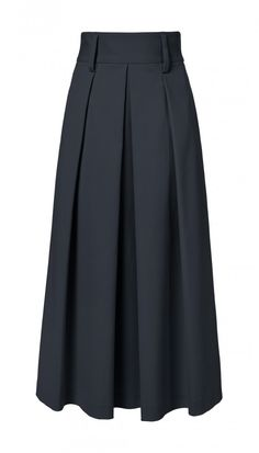 This high-waisted midi skirt accentuates the waist and is pleated for volume in the skirt. Gold button detailing in back elevates the look. Pair with cropped tops or tuck in your favorite blouse for an ultra feminine look. Unlined.    Ivory styled with Silk Sculpted Bomber Jacket and Oliva Slides. Black styled with Agathe V-Back Ruffle Top and Aubrey Heels. Vermillion Red styled with Agathe V-Back Ruffle Top and Aubrey Heels.   48% Cotton, 45% Polyamide, 7% Elastane. Dry Clean Only.   Style…