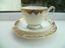 Lovely Vintage Regency China Trio Tea cup Saucer Plate Turquoise Gilded