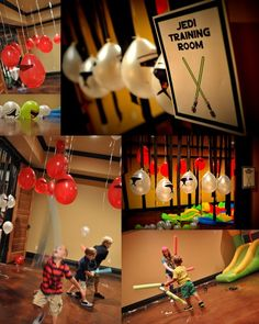 23 Ways To Throw The Best Star Wars Birthday Party Ever - Star Wars Bday - Ideas of Star Wars Bday - If your party is indoors tape low-hanging Stormtrooper balloons from the ceiling-Jedi boot camp begins! Birthday Star, 6th Birthday Parties, Birthday Ideas, Indoor Birthday, Lego Birthday, Birthday Cakes, Stormtroopers, Theme Star Wars, Star Wars Party Games