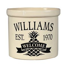 """The multi use Pineapple Stoneware Crock is perfect for planting herbs and flowers, storing kitchen utensils, and more. You can personalize it with a name and a year, and it features the phrase """"Welcome"""" along with a pineapple accent. Copper Utensils, Stainless Steel Utensils, Kitchen Utensils, Whitehall Products, Stoneware Crocks, Thing 1, Cooking Gadgets, Utensil Holder, Baking Ingredients"""