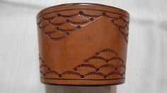 Tooled Leather coffee sleeve... or Cuff :) ...You can be green and fashionable!! $15.99