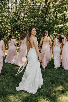 This beautiful lace open back wedding dress from the Wedding Shoppe is perfectly accented by these blush pink bridesmaid dresses | such a unique wedding/bride and bridal party picture | modern and trendy wedding | stylish wedding ideas | timeless and boho wedding inspiration | simple and chic bride and bridesmaid ideas | romantic outdoor wedding inspo Blush Pink Bridesmaid Dresses, Blush Pink Wedding Dress, Junior Bridesmaids, Blush Pink Weddings, Stunning Wedding Dresses, Bridesmaid Ideas, Dream Wedding Dresses, Lovely Dresses, Wedding Gowns