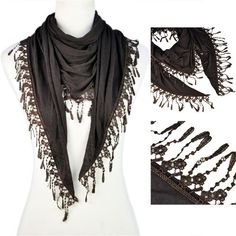 Aliexpress.com : Buy Christmas Gift! Lace triangular Tassel scarf with jewelry beads, NL 1891 from Reliable lace scarf with fringe suppliers on Well Done Fashion Jewelry Co.,Ltd. $9.76