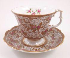 ROYAL ALBERT TRUE LOVE Cup Saucer Brown Lace Pink Roses Bone China England #RoyalAlbert