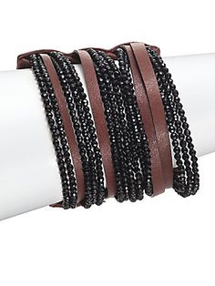 Brunello Cucinelli lack Agate & Leather Multi-Strand Cuff 0414687900285 Bracelet