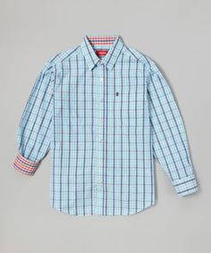 This Light Blue & Red Plaid Button-Up - Toddler & Boys by IZOD is perfect! #zulilyfinds