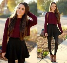 This outfit consisting of a Burgundy Crop Top, A black Skirt and brown boots is perfect for the autumn! Fashion Mode, Look Fashion, Teen Fashion, Autumn Fashion, Fashion Outfits, Womens Fashion, Burgundy Fashion, Fashion Clothes, Disney Fashion