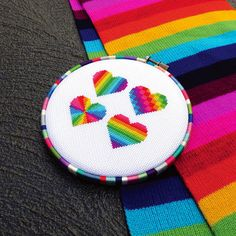 "This colorful rainbow hearts cross stitch pattern makes a bright Valentine's Day gift, or stitch it all year round for your loved ones. With four different heart styles in a variety of colours, geometrical patterning adds a modern element to the design. When completed on 14 count Aida, this lovely heart chart fits perfectly into a 6"" hooped embroidery frame. You'll find it an easy cross stitch project, working with small patches of color and no backstitches or half stitches. You can also…"