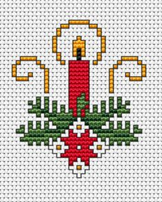 Cross stitch Christmas card with red candle, pine twigs and Christmas flower to surprise your relatives and friends. Cross Stitch Christmas Cards, Xmas Cross Stitch, Cross Stitch Bookmarks, Cross Stitch Cards, Simple Cross Stitch, Cross Stitch Alphabet, Cross Stitch Flowers, Cross Stitching, Cross Stitch Embroidery