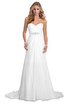 sponsored: Dreambridal Simple A Line Chiffon Bride Wedding Dresses D...