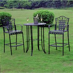 Enjoy your morning coffee or brunch with this modern iron bistro set. This stunning three-piece bistro set is the perfect size for small or large patio and balcony spaces, making it an ideal addition