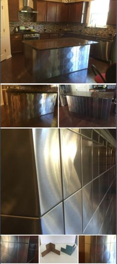 Stainless Steel Tile Covers Kitchen Island | Contemporary Kitchen Deign with 3D Tile | Diamond Pattern That Stands Out as a Focal Point of the Room | Custom Corner Tile | Clean, Finished Corner Edges available Upon Request | More Modern Metal Tile at www.StainlessSteelTile.com