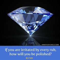 If you are irritated by every rub, how will you be polished? (RUMI)