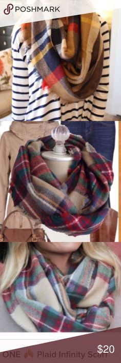 ☃️COMING SOON☃️Plaid Infinity Scarf Plaid infinity scarf.  Warm and soft.  Brown colors. Infinity Raine Accessories Scarves & Wraps