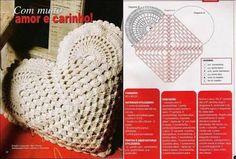 heart shaped crochet pillow patterns - Google Search