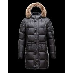 Moncler Outlet UK 2014 New Detachable Fur Collar Down Coats Black 2e6e4ad9d1889