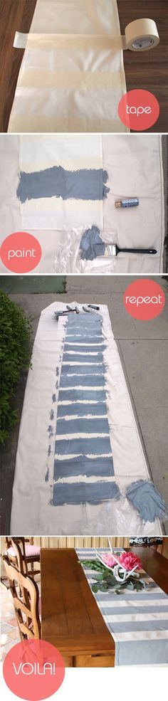 simple DIY striped table runner - LOVE this idea. I feel like once I'm not pregnant anymore I will be using A LOT of fabric paint Cute Crafts, Crafts To Do, Diy Crafts, Decor Crafts, Diy Projects To Try, Craft Projects, Craft Ideas, Striped Table Runner, Creation Deco
