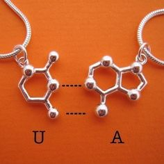 friendship necklace set DNA and RNA base pairs by molecularmuse, $90.00
