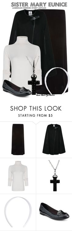"""American Horror Story Asylum"" by wearwhatyouwatch ❤ liked on Polyvore featuring Dorothy Perkins, 2nd Day, MANGO, Tarina Tarantino, John Lewis, Sperry, cross jewelry, maxi skirts, cape coats and capes"