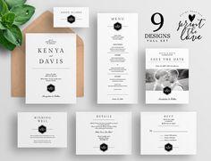 Printable Wedding Invitation Set Printable by PrintTheLoveBoutique